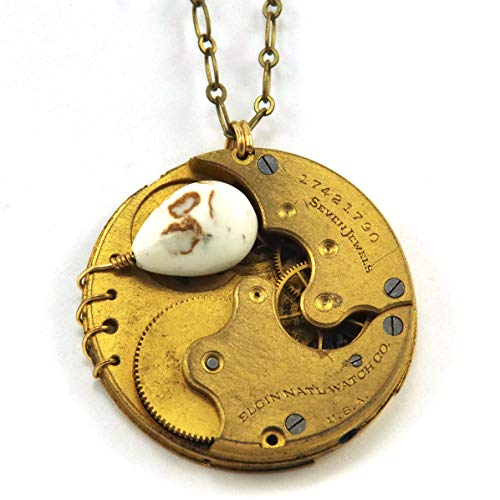 Steampunk Necklace - Brown and White Magnesite and Antique Elgin Pocket Watch from 1910 -  Starry Night Beadworks