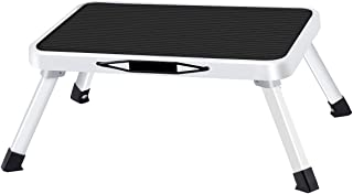 Folding Steel Step Stool One Step Ladder with Built-in Handle Drive Medical Footstool Foldable Stool with Non Skid Plastic Platform Max Load 330 lbs for Kids Adults Seniors at Home Kitchen Bathroom RV