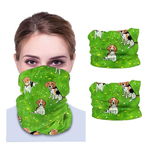Beagles And Dandelions Variety face Towel Seamless Neck Gaiter Shield Scarf Bandana Face Mask UV Protection for Motorcycle Cycling Riding Running Headbands