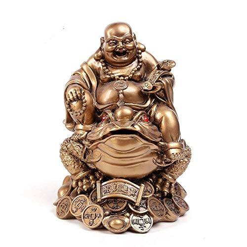 Accesorios para El Hogar Toad Laughing Buddha, Escultura De Estatua De Tortuga Y Buda, Estatuilla De Arte De Resina, Adornos De Decoración De Feng Shui para El Hogar