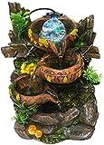 Escultura,Fuente De Escritorio Interior Cuenco Redondo De 3 Capas Fuente De Agua Que Fluye Roca De Resina Y Bola Giratoria Decoración del Hogar para La Decoración De La Mesa De La Oficina En Casa