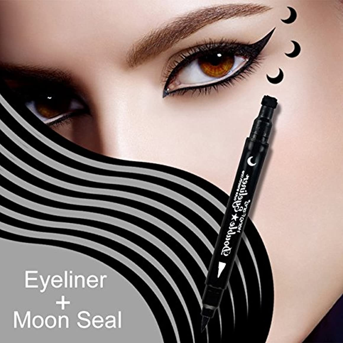 MIOBLET 1PC Super Double-headed Black Liquid Eyeliner Pencil Pen Waterproof Star Heart Moon Flower Shape Seal Stamp Tattoo Eyes Liner Makeup (Moon Seal)