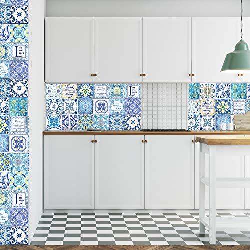 Walplus Extraíble Autoadhesivo Arte Mural Adhesivos Vinilo Decoración Hogar Bricolaje Living Cocina Dormitorio Decor Papel Pintado Inglés Familia Frase para Mosaico Azulejos 48 Piezas 15cm X