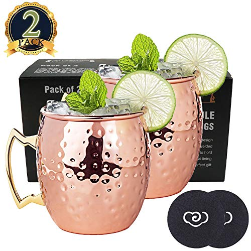 LIVEHITOP Moscow Mule Copper Mugs Set of 2, Copper Cups 18 Oz Cocktail Kit with Coaster for Wine, Beer, Cold Drink, Bar, Party, Gifts