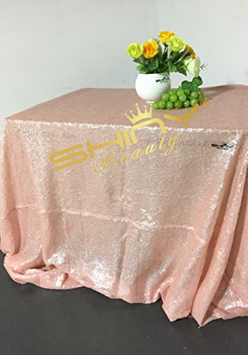 Shinybeauty 90 x 132IN tovaglia paillettes blush rosa 225 x 330 cm rettangolo paillette in lino