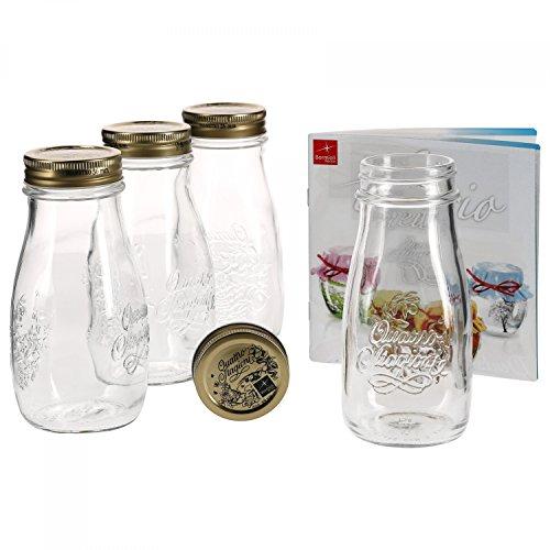 MamboCat 4er Set Quattro Stagioni Flasche 0,40l incl. Bormioli Rezeptheft - als Saft Smoothie Getränke Fläschchen, zur Dekoration oder als Einmachglas, Vorratsglas