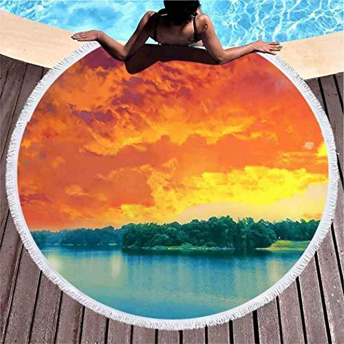 AYGoUP Runde Mikrofaser Handtuch Sporthandtuch, Strandhandtuch Ultra leicht schnelltrocknend Ideal für Reisen, Fitness, Yoga, Sauna Ocean Broad Lake Schöner Himmel 59''