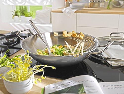 ZWILLING Wok, Incluye tapa de vidrio e inserto de rejilla extraíble, Apto para inducción, Ø 32 cm, Acero inoxidable
