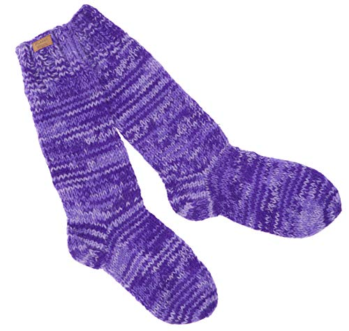 Guru-Shop Handgestrickte Schafwollsocken, Haussocken, Nepal Socken, Herren/Damen, Lila, Wolle, Size:L (42-46), Socken & Beinstulpen Alternative Bekleidung