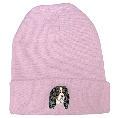 Cherrybrook Dog Breed Embroidered Ultra Club Classic Knit Beanies - Pink - Cavalier King Charles Spaniel
