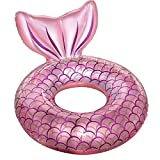 Mermaid Pool Float,Inflatable Mermaid Swimming Ring Floating Bed Float Pool,Mermaid Tail Tubes Glitters Water Party Summer Beach Pool Float for Adults (Pink)