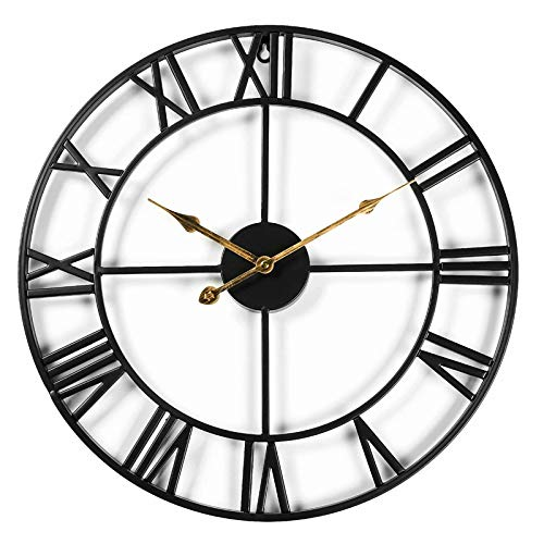 CIFFOST Große Metallwanduhr, europäische Retro-Wanduhr mit römischen Ziffern, leise und Nicht tickende batteriebetriebene dekorative Wanduhr für die Schlafzimmerküche im Dachgeschoss-schwarz_47cm