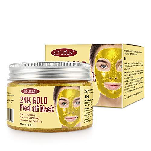 24 Karat Gold Gesichtsmaske, Peel Off Gesichtsmasken, Mitesserentferner Masken, Peel-Off reduzieren Falten, Tiefenreinigende Gesichtsmaske Porenschrumpfen