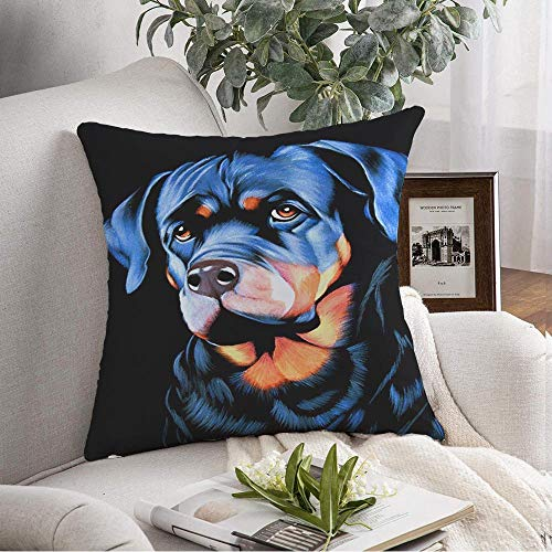 Starodec Decorative Throw Pillow Cover Big Dog Sad Eyes Original Oil Painting On Black Velvet Thin Brush Impressionism Man Best Friend Cute Soft Cushion Cover Case for Couch Bedroom Car 18x18 Inch