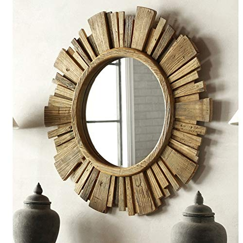Classical Round Sunburst Wall Mirror Natural Wood Starburst Circle Living Room Hanging Vanity Mirror,Natural Look and Perfect for Bedroom,33.8 Inches in Diameter