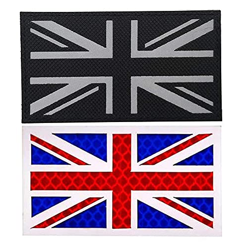 Parche de bandera reflexiva del Reino Unido Reino Unido Reino Unido Ir, parches tácticos infrarrojos morales, insignia de combate, paintball, brazalete militar, emblema con apliques