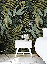 Botanical Wallpaper Ferns Foliage Green Removable mural decor