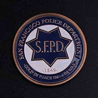 Vaselonsa Commemorative Coin San Francisco Police Cop Collection Souvenir Coins Art Gifts - Coin Underwear American Toy Saint Police Handcuff San Fire Coin Police 49er Police Keychain