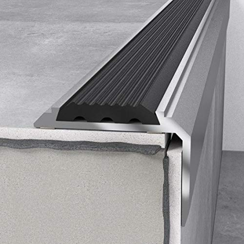 Treppenprofil 46 x 30 x 1200 mm Silber mit Einlage | Treppenkante Aluminium | Aluminiumprofil | Winkel | Treppenwinkel