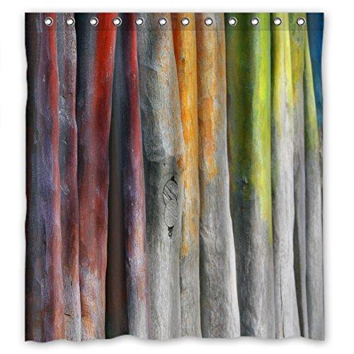 Doubee Vintage Holz Wood Wasserdichtes Duschvorhänge Non-toxic Shower Curtain 66
