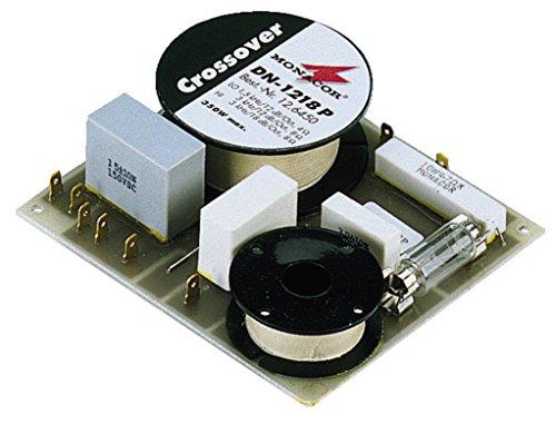 MONACOR DN-1218P 2-Wege-Weiche 8 ohm für Hi-Fi und PA, Hohe Steilheiten, Hochwertige Ausführung, Folien-Kondensatoren, Hochtonschutz, 300W