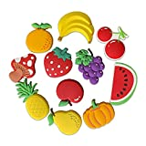 VLOOK Fridge Magnets for Toddlers Soft Rubber Safety Magnets for Kids Children Magnets Baby Magnetic Toys Educational Gift (Fruit)