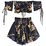 DEZZAL ZAFUL Women's Two Piece Off Shoulder Floral Smocked Crop Top and Shorts Set (W-Midnight Blue, L)