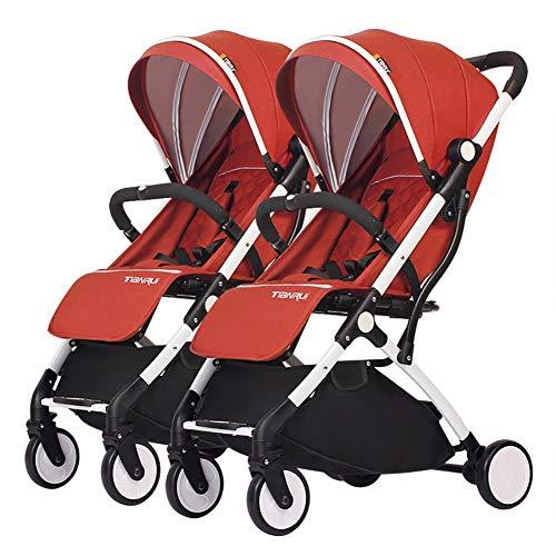 Poussettes JCOCO Double Chariot bébé, jumelle, Enfant détachable, Chariot portatif léger d'alliage d'aluminium de Chariot portatif léger de Chariot ( Color : Orange )