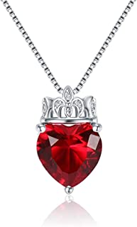 SKA Jewelry Queen of Hearts Necklace for Women 10mm Heart Shaped Cubic Zirconia with Crown Pendant Chain Necklace Adjustable 20