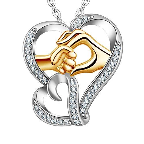 INFUSEU - Collar para madre e hija, plata de ley 925, collares con colgante de mamá, te mantienen en mi corazón, joyería de oro rosa para mujeres, regalo del día de la madre…