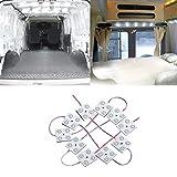 Justech Luces Interiores del Coche 12V LED Luces de Tira del Vehículo Domo Iluminación del Techo 40 LED Módulos Blancos 12V para Camper Van Caravana Camión Barcos