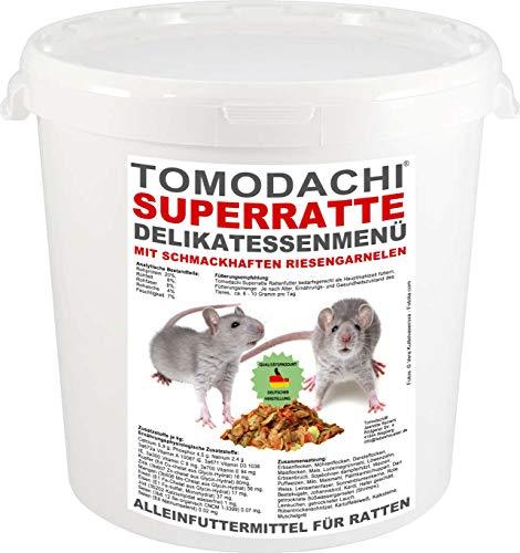 Tomodachi Rattenfutter mit tierischen Proteinen, Süßwassergarnelen, Alleinfutter für die Ratte, Hauptmahlzeit - wenig Pellets, viel Gemüse, Möhrenflocken, Erbsenflocken, Superratte 10L Eimer