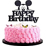 Artczlay Happy Birthday Cake Topper Mickey Black Glitter Cake Topper Boy Girl Children Birthday Party Cake Decoration