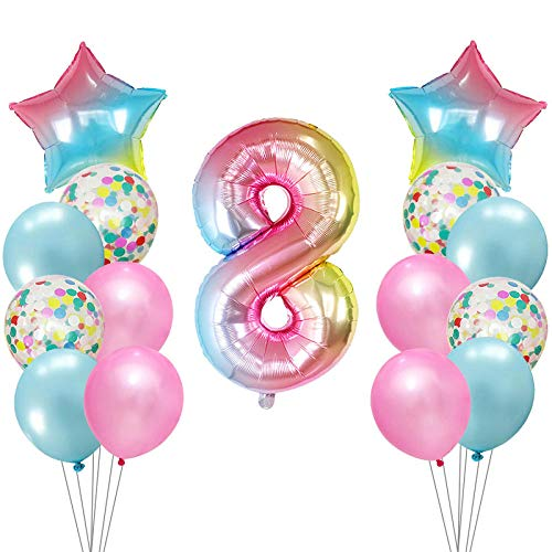 JNFGH 15 unids / Lote 1 2 3 4 5 6 7 8 9º Número de gradiente Globos de Aluminio Globo de Helio Digital Baby Shower Decoración Globo de Fiesta de cumpleaños@Caqui Oscuro