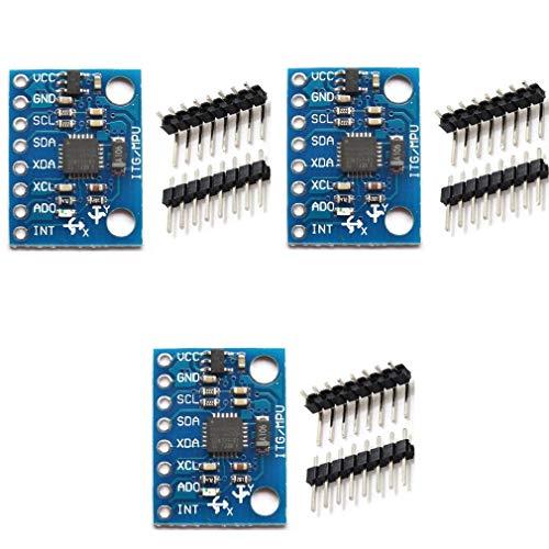HiLetgo 3pcs MPU-6050 MPU6050 GY-521 3 Axis Accelerometer Gyroscope Module 6 DOF 6-axis Accelerometer Gyroscope Sensor Module 16 Bit AD Converter Data Output IIC I2C for Arduino