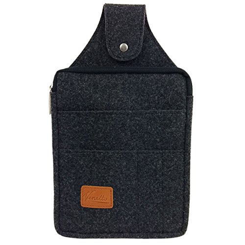 Venetto Multifunktions Gürteltasche Bauchtasche Hüfttasche felt sachet bag aus Filz mit Echtleder-Applikationen (Schwarz meliert)