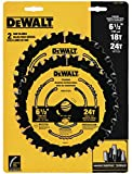 DEWALT DWA1612CMB 6-1/2-Inch 18/24-Tooth Circular Saw Blade, Combo, Pack of 1 (Packaging may vary)