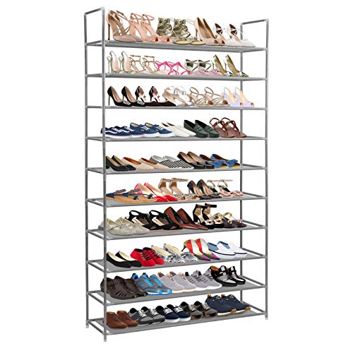 AMOS 10 Tier Extendable Shoe Rack 50 Pair Space Saving Storage Organiser with Waterproof Non-Woven Fabric Shelves