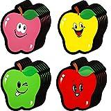 60 Piezas Recortes de Manzanas Colores Decoración de Recortes de Aula de Frutas de Otoño con Puntos de Pegamento para Tablón de Anuncios Fiesta Temática Escolar