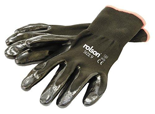 Rolson 60662 4 paar zwarte handschoenen met Nitril coating