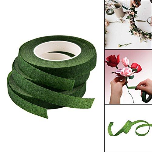 FADACAI Ruban adhésif en papier de 12 mm de large pour fleuriste - Accessoire de fleuriste - Ruban pour boutonnière - Fleur artificielle
