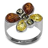 Noda anillo de plata con ámbares multicolores Mariposa talla 14