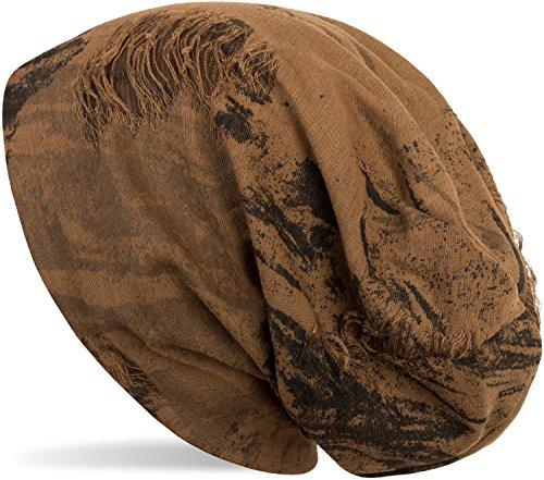 styleBREAKER gemusterte Beanie Mütze im Destroyed Vintage Used Look, Slouch Longbeanie, Unisex 04024068, Farbe:Cognac