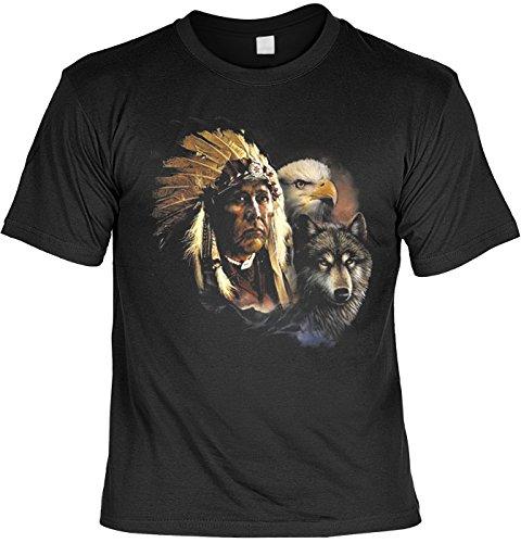 Indien t-shirt anniversaire avec aigle et indiens loup fb (noir) 50 Noir - Noir