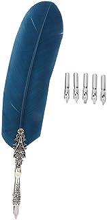 Feather Quill Pen Set, Dip Pen English Caligrafía Pluma Pluma con 5 puntas de repuesto, Pluma Estilográfica Europea Vintage Pluma para el regalo de la decoración del hogar(F)