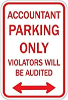 ヴィンテージは面白い金属錫の看板、会計士の駐車場だけの違反者を監査されます錫金属サイン面白い警告サインホームゲートドア装飾記号