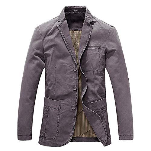 Allthemen - Giacca sportiva da uomo, vestibilità Slim Fit, colore a scelta, look usato Grigio (3 bottoni). L