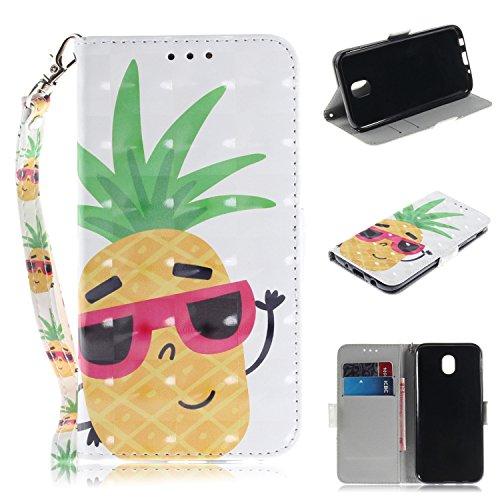 Nadoli Galaxy J7 2017 Lederhülle,3D Standfunktion Pu Leder Flip Brieftasche Handyhülle Ananas Wallet Tasche Etui für Samsung Galaxy J7 2017,Ananas
