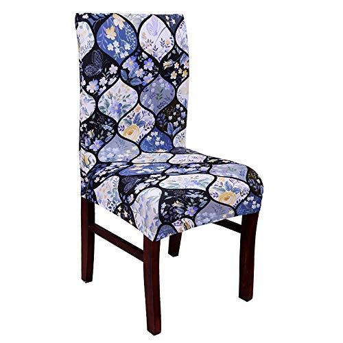 LZHLMCL Stuhlbezug Waschbar Stuhlbezüge Anti Dirty Pattern Spandex Stretch Stuhlbezug Blume Sitzschutz Schonbezug Robust Office Dining Chair Case 4St