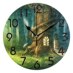 Naanle Magical Fantasy Fairy Tale Tree House Printed Round Wall Clock Decorative, 9.5 Inch Battery Operated Quartz Analog Quiet Desk Clock for Home,Office,School